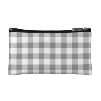 Gray And White Gingham Check Pattern Cosmetic Bag