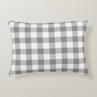 Gray And White Gingham Check Pattern Decorative Pillow