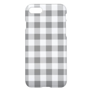 Gray And White Gingham Check Pattern iPhone 7 Case