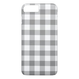 Gray And White Gingham Check Pattern iPhone 7 Plus Case