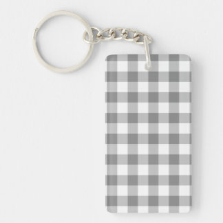 Gray And White Gingham Check Pattern Double-Sided Rectangular Acrylic Keychain