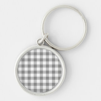 Gray And White Gingham Check Pattern Silver-Colored Round Keychain