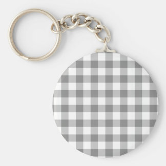 Gray And White Gingham Check Pattern Basic Round Button Keychain