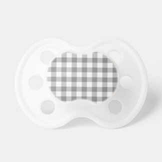 Gray And White Gingham Check Pattern Pacifier