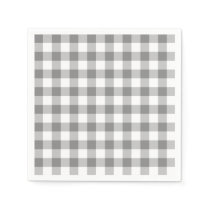 Gray And White Gingham Check Pattern Paper Napkin