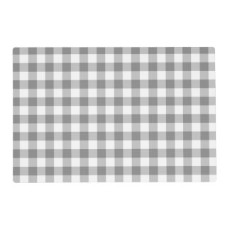 Gray And White Gingham Check Pattern Placemat