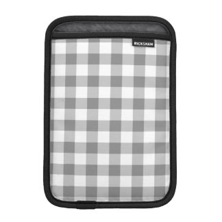 Gray And White Gingham Check Pattern Sleeve For iPad Mini