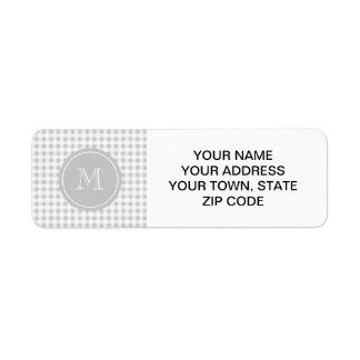 Gray and White Gingham, Your Monogram Label