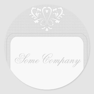Gray And White Heart Damask Classic Round Sticker
