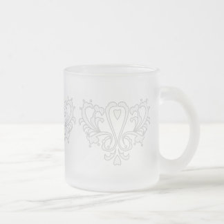 Gray And White Heart Damask Frosted Glass Coffee Mug
