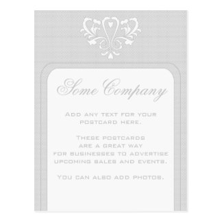 Gray And White Heart Damask Postcard