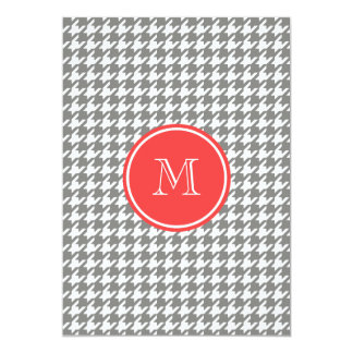 Gray and White Houndstooth Coral Monogram 5x7 Paper Invitation Card