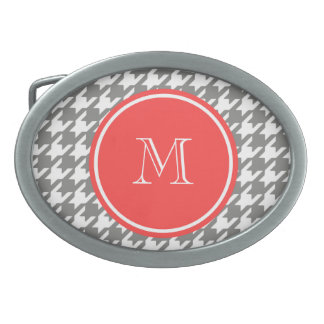 Gray and White Houndstooth Coral Monogram Belt Buckles