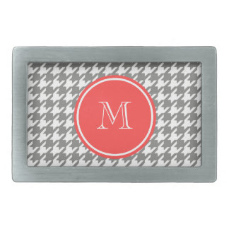 Gray and White Houndstooth Coral Monogram Rectangular Belt Buckles