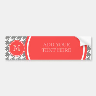 Gray and White Houndstooth Coral Monogram Bumper Sticker