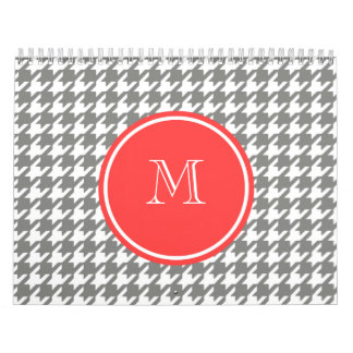 Gray and White Houndstooth Coral Monogram Calendar