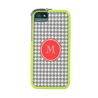Gray and White Houndstooth Coral Monogram iPhone 5/5S Cases