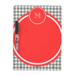 Gray and White Houndstooth Coral Monogram Dry Erase Board
