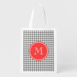 Gray and White Houndstooth Coral Monogram Grocery Bag