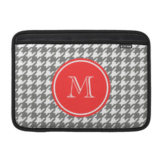 Gray and White Houndstooth Coral Monogram MacBook Air Sleeves