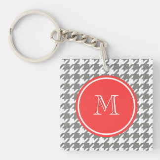 Gray and White Houndstooth Coral Monogram Keychain