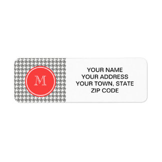 Gray and White Houndstooth Coral Monogram Custom Return Address Labels