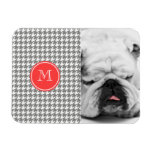 Gray and White Houndstooth Coral Monogram Flexible Magnets