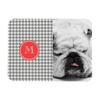 Gray and White Houndstooth Coral Monogram Rectangular Photo Magnet