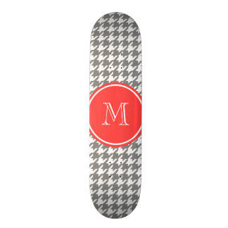 Gray and White Houndstooth Coral Monogram Skate Board