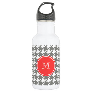 Gray and White Houndstooth Coral Monogram Stainless Steel Water Bottle