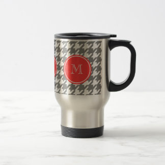 Gray and White Houndstooth Coral Monogram Travel Mug