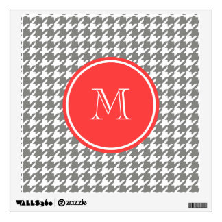 Coral And Gray Wall Decals Wall Stickers Zazzle - Coral monogram wall decal