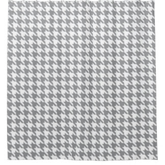 Gray And White Houndstooth Pattern Shower Curtain