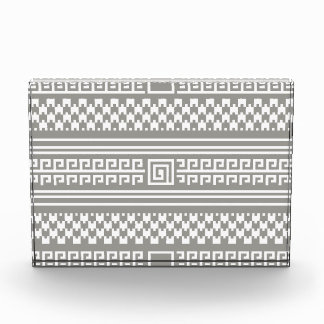 Gray And White Houndstooth With Spirals Acrylic Award