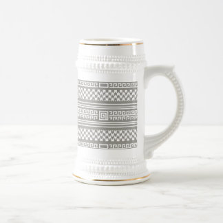 Gray And White Houndstooth With Spirals Beer Stein