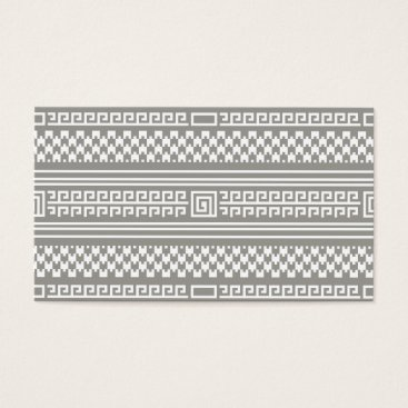 Aztec Themed Gray And White Houndstooth With Spirals Business Card