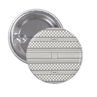 Gray And White Houndstooth With Spirals 1 Inch Round Button