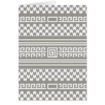 Aztec Themed Gray And White Houndstooth With Spirals Card