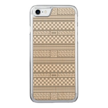 Aztec Themed Gray And White Houndstooth With Spirals Carved iPhone 7 Case