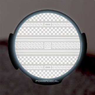 Gray And White Houndstooth With Spirals LED Car Decal