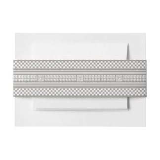 Gray And White Houndstooth With Spirals Invitation Belly Band