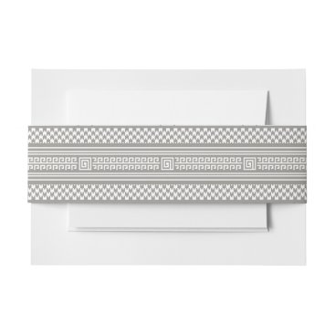 Aztec Themed Gray And White Houndstooth With Spirals Invitation Belly Band
