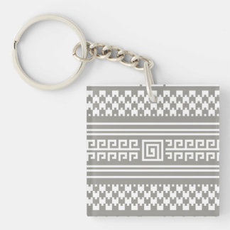 Gray And White Houndstooth With Spirals Keychain