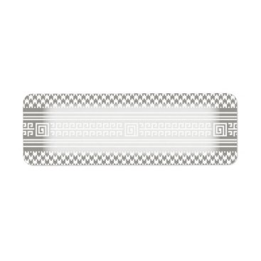 Aztec Themed Gray And White Houndstooth With Spirals Label