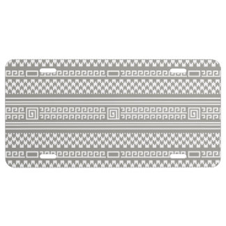 Gray And White Houndstooth With Spirals License Plate