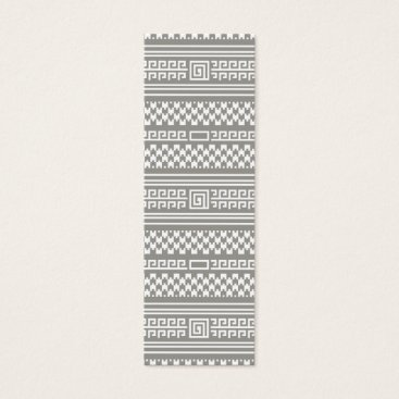 Aztec Themed Gray And White Houndstooth With Spirals Mini Business Card