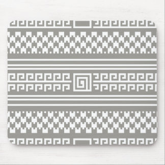 Gray And White Houndstooth With Spirals Mouse Pad