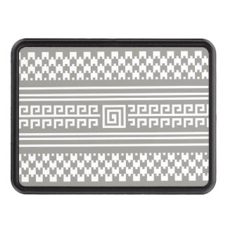 Gray And White Houndstooth With Spirals Trailer Hitch Covers
