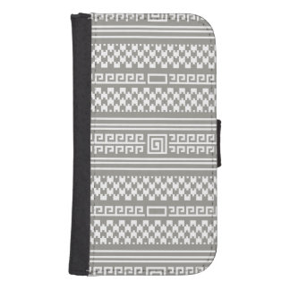 Gray And White Houndstooth With Spirals Galaxy S4 Wallet Case
