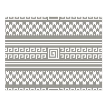 Aztec Themed Gray And White Houndstooth With Spirals Postcard